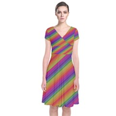 Spectrum Psychedelic Short Sleeve Front Wrap Dress