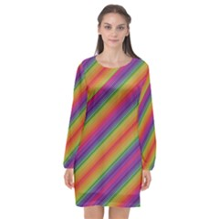 Spectrum Psychedelic Long Sleeve Chiffon Shift Dress