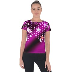 Background Christmas Star Advent Short Sleeve Sports Top  by BangZart