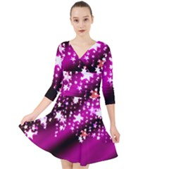 Background Christmas Star Advent Quarter Sleeve Front Wrap Dress