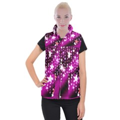 Background Christmas Star Advent Women s Button Up Puffer Vest