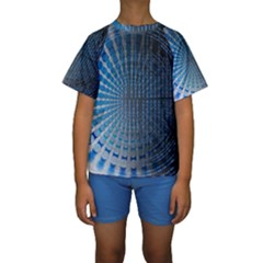 Data Computer Internet Online Kids  Short Sleeve Swimwear by BangZart