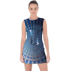 Data Computer Internet Online Lace Up Front Bodycon Dress