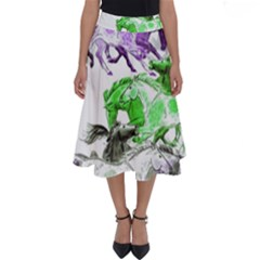 Horse Horses Animal World Green Perfect Length Midi Skirt