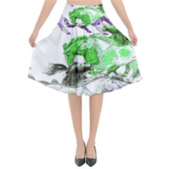 Horse Horses Animal World Green Flared Midi Skirt