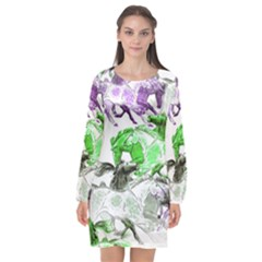 Horse Horses Animal World Green Long Sleeve Chiffon Shift Dress