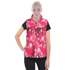 Christmas Star Advent Background Women s Button Up Puffer Vest