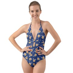 Golden Roses Halter Cut Out One Piece Swimsuit