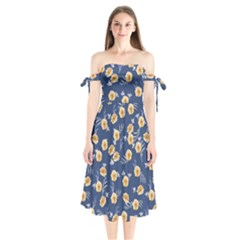 Golden Roses Shoulder Tie Bardot Midi Dress by jumpercat