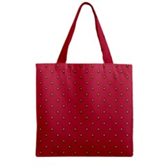 Strawberry Pattern Zipper Grocery Tote Bag