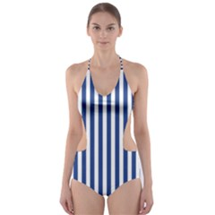 Blue Stripes Cut Out One Piece Swimsuit