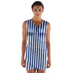 Blue Stripes Wrap Front Bodycon Dress