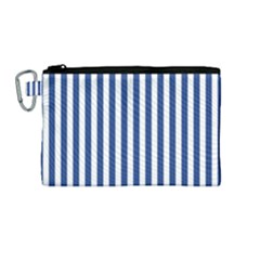 Blue Stripes Canvas Cosmetic Bag (medium) by jumpercat