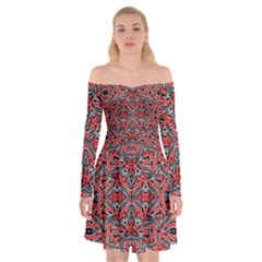 Exotic Intricate Modern Pattern Off Shoulder Skater Dress by dflcprints