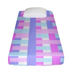 Gingham Nursery Baby Blue Pink Fitted Sheet (single Size)