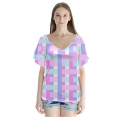 Gingham Nursery Baby Blue Pink V Neck Flutter Sleeve Top