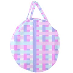 Gingham Nursery Baby Blue Pink Giant Round Zipper Tote