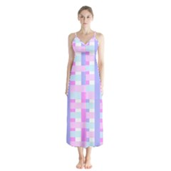 Gingham Nursery Baby Blue Pink Button Up Chiffon Maxi Dress