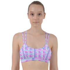 Gingham Nursery Baby Blue Pink Line Them Up Sports Bra