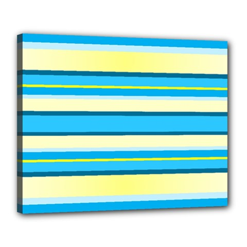 Stripes Yellow Aqua Blue White Canvas 20  X 16