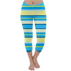 Stripes Yellow Aqua Blue White Capri Winter Leggings  by BangZart