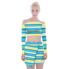 Stripes Yellow Aqua Blue White Off Shoulder Top With Mini Skirt Set