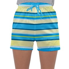 Stripes Yellow Aqua Blue White Sleepwear Shorts