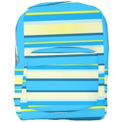 Stripes Yellow Aqua Blue White Full Print Backpack