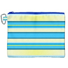 Stripes Yellow Aqua Blue White Canvas Cosmetic Bag (xxl)