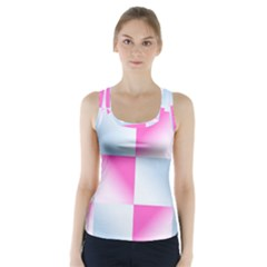 Gradient Blue Pink Geometric Racer Back Sports Top