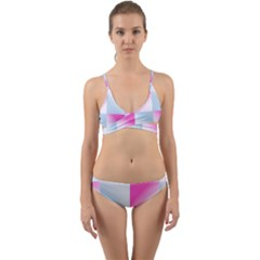 Gradient Blue Pink Geometric Wrap Around Bikini Set