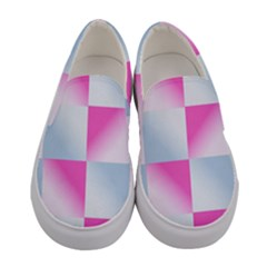 Gradient Blue Pink Geometric Women s Canvas Slip Ons