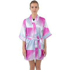 Gradient Blue Pink Geometric Quarter Sleeve Kimono Robe