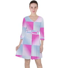 Gradient Blue Pink Geometric Ruffle Dress