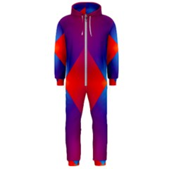 Geometric Blue Violet Red Gradient Hooded Jumpsuit (men)
