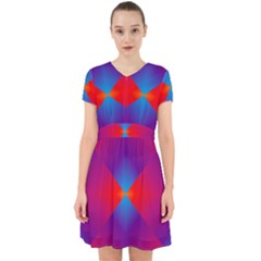 Geometric Blue Violet Red Gradient Adorable In Chiffon Dress