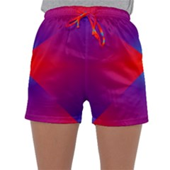Geometric Blue Violet Red Gradient Sleepwear Shorts