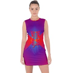Geometric Blue Violet Red Gradient Lace Up Front Bodycon Dress
