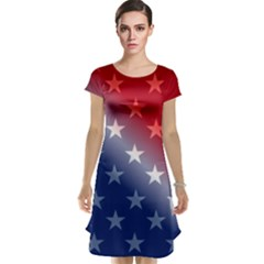 America Patriotic Red White Blue Cap Sleeve Nightdress by BangZart