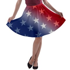America Patriotic Red White Blue A Line Skater Skirt