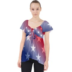 America Patriotic Red White Blue Lace Front Dolly Top