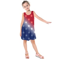 America Patriotic Red White Blue Kids  Sleeveless Dress by BangZart