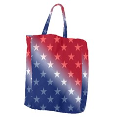 America Patriotic Red White Blue Giant Grocery Zipper Tote