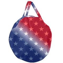 America Patriotic Red White Blue Giant Round Zipper Tote