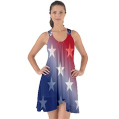 America Patriotic Red White Blue Show Some Back Chiffon Dress