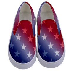 America Patriotic Red White Blue Kids  Canvas Slip Ons