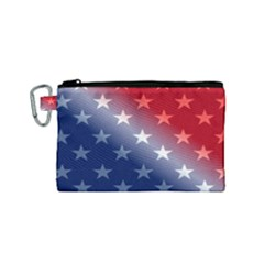 America Patriotic Red White Blue Canvas Cosmetic Bag (small)