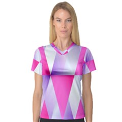 Gradient Geometric Shiny Light V Neck Sport Mesh Tee