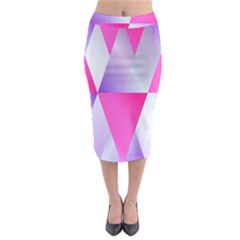Gradient Geometric Shiny Light Midi Pencil Skirt