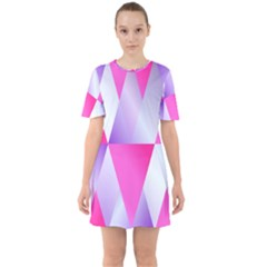 Gradient Geometric Shiny Light Sixties Short Sleeve Mini Dress by BangZart